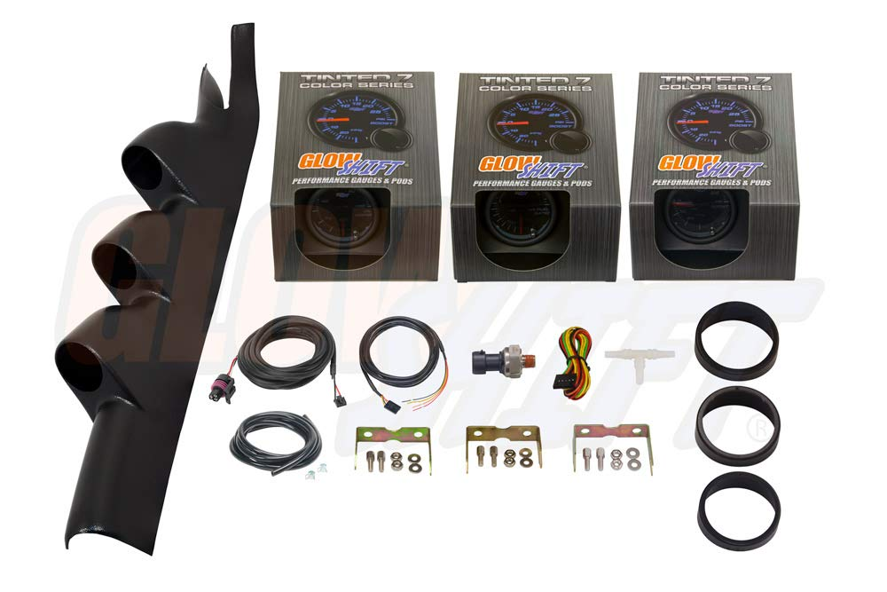 GlowShift Gauge Package for 2005-2014 Ford Mustang Cobra GT Hardtop - Tinted 7 Color 30 PSI Boost/Vacuum, Narrowband Air/Fuel Ratio & 100 PSI Oil Pressure Gauges - Black Triple Pillar Pod by GlowShift