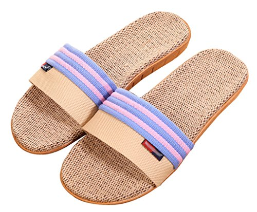 Blubi Womens Stripes Open Toe Breathable Flax Summer House Slippers Bedroom Slippers Blue 7mobYDLD