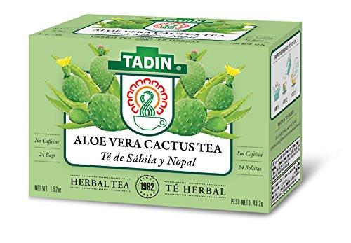 Tadin Herb & Tea Co. Aloe Vera Cactus Tea, Caffeine Free, 24 Tea Bags, Pack of -