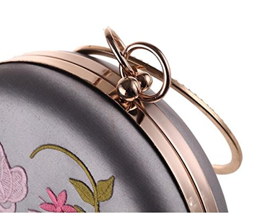 Bag WenL Clutch Silver Bag New Embroidery Vintage Flower Round Bag Evening Dress rqpFwrv
