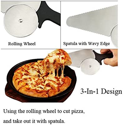 for Home or Restaurant Use for Bread Pastry Extra Sharp Stainless-Steel Wheel Blade Slicer and Server Ant-Slip ergonomically Shaped Handle Innovative 3 in 1 Pizza Cutter Calzones Pie Dough