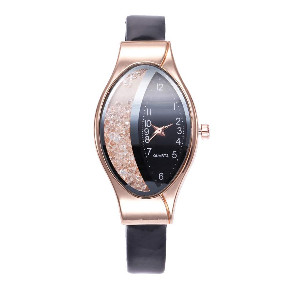 yanbirdfx Creative Women Oval Dial Quicksand Decor Analog Faux Leather Quartz Wrist Watch - Black