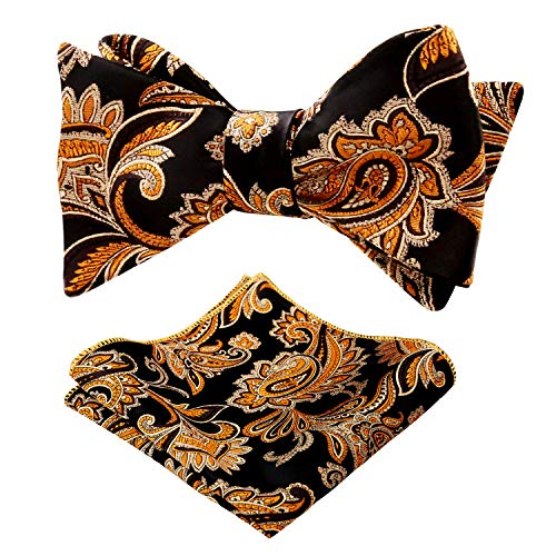 Alizeal Mens Novelty Paisley Pattern Self-Tied Bow Tie and Pocket Square Set, - Tie Bow Tied Black Hand