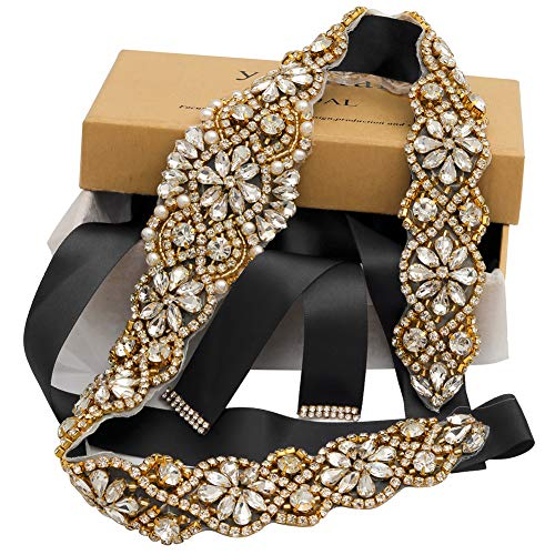 Yanstar Handmade Gold Crystal Rhinestone Black Belts Sashes For Bridal Wedding ()