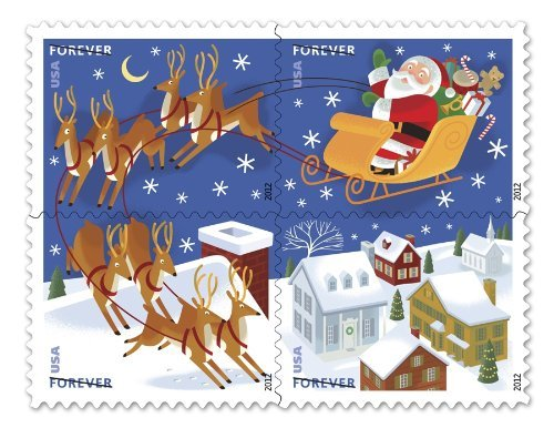 (US Stamp 2012 Santa & Sleigh - Booklet of 20 Forever Stamps #4715b)