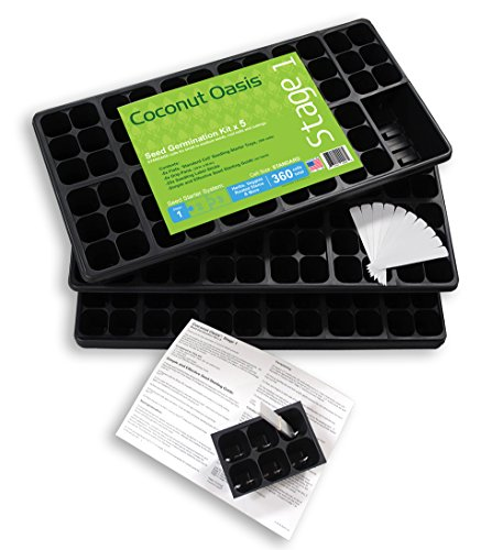 5-Pack of Seed Germination Kits: 5 Drip Pans & 5 Seedling Tray Flats (72 cells per flat, 360 cells total) + 25 Plant Tags by Coconut Oasis STAGE 1 Greenhouse Products
