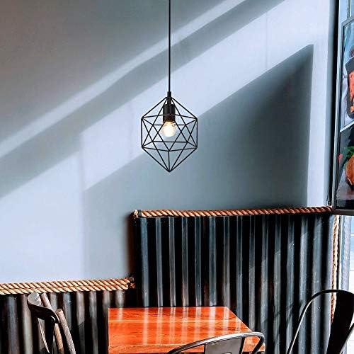 SOTTAE Black Modern Geometric Industrial Metal Pendant Light, Cage Pendant Light Fixture Vintage Geometric Basket Single Pendant Light, Hanging Light Fixture for Kitchen Island Bar Living room bedroom
