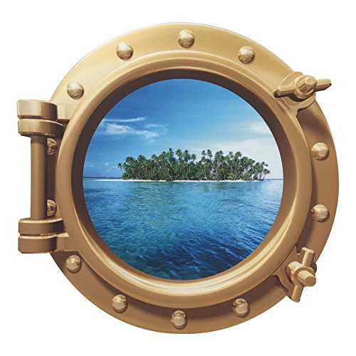 Cruise Ship Porthole Sticker - Easy Peel On Off Decal for Walls, Doors & Other Flat Surfaces -