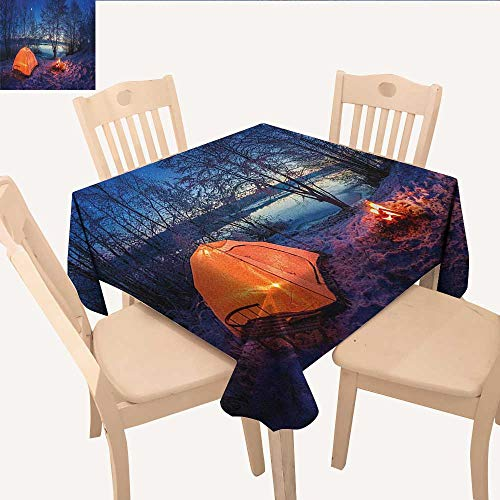 longbuyer Forest Printed Tablecloth Dark Night Camping Tent Photo in The Winter on The Snow Covered Lands by The Lake Non Slip Tablecloth Blue Orange W 54