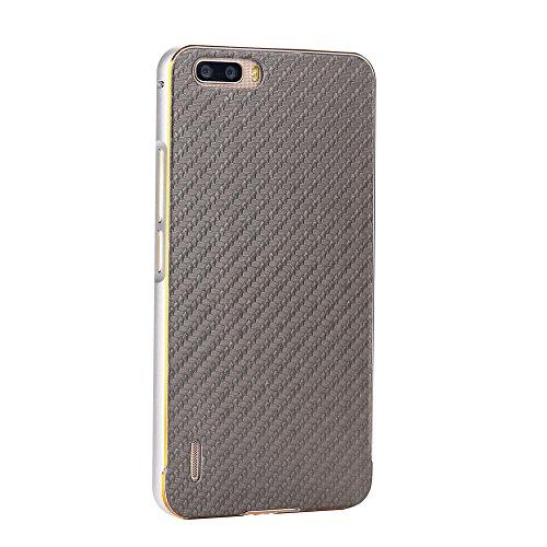 Huawei Honor 6 Plus Funda Case LifeePro Stylish 2 in 1 Patrón de teléfono híbrido [Anti-rasguños] [Antideslizante] Resistente a los golpes PU Cuero Gris Contraportada + Caja de parachoques de aluminio Plata