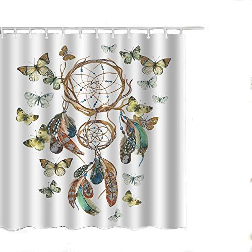 Alicemall Butterfly Shower Curtain Beautiful Dream Catcher and Flying Butterflies BathroomCurtain Set, 71x71 inch, 12 Hooks Included (71