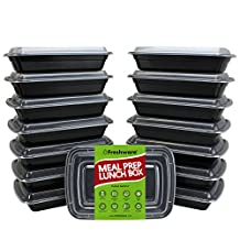 Freshware 15-Pack 1 Compartment Bento Lunch Boxes with Lids - Stackable, Reusable, Microwave, Dishwasher & Freezer Safe - Meal Prep, Portion Control, 21 Day Fix & Food Storage Containers (28oz)