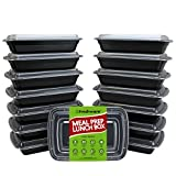 Freshware YH-1X15 15-Pack 1 Compartment Bento Lunch Boxes with Lids (28oz)