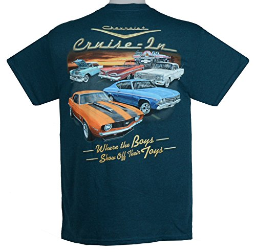 Chevy 56 Bel Air, 59 & 64 Impala, 69 Camaro & 69 Chevelle T-Shirts - Blue - By HRAC Chevelle Impala