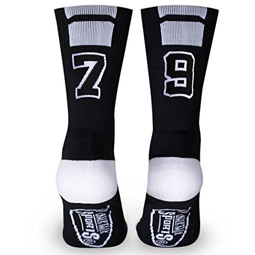 Custom Team Number Crew Socks | Athletic Socks by ChalkTalkSPORTS | Black | - Sanitary Adult Socks