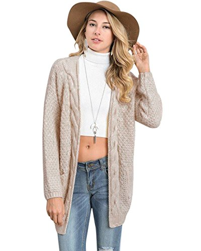 Beige Womens Cardigan (Anself Women's Boho Long Sleeve Open Front Chunky Warm Cardigans Pointelle Pullover Sweater Blouses)