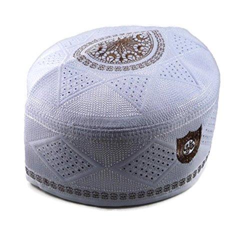 (Alwee ALW002 Men's Muslim Prayer Hat Headware Skull Cap Islam Kufi Black White (22.5 inch (57 cm.), White))