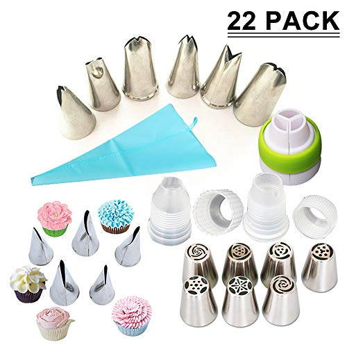 SAYGOGO Stainless Steel Russian Piping Tips,Baking Decoration Tools - 22 Baking Supplies Set 18 Icing Nozzles 2 Converters,1 Recyclable Silicone Pastry Bag & Coupler,Baking Essential Mold