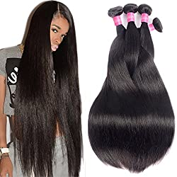 10A Brazilian Virgin Hair Straight Remy Human Hair Weave 4 Bundles 20 22 24 26Inch 100% Unprocessed Brazilian Straight Hair Bundles Natural Black Color Straight Hair Extensions