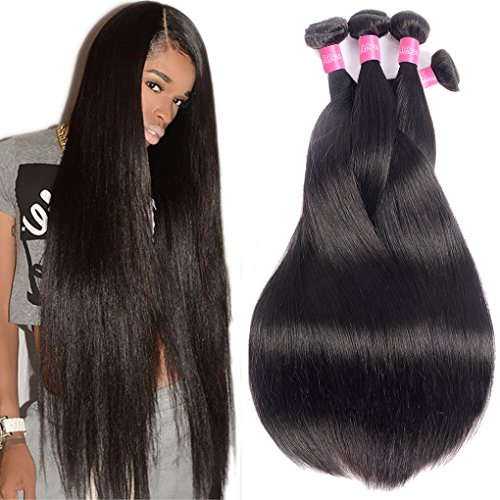 Human Hair Remy (10A Brazilian Virgin Hair Straight Remy Human Hair Weave 4 Bundles 20 22 24 26Inch 100% Unprocessed Brazilian Straight Hair Bundles Natural Black Color Straight Hair Extensions)