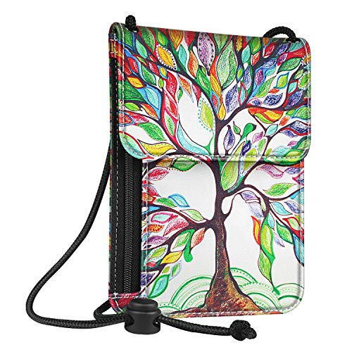 (Fintie Passport Holder Neck Pouch [RFID Blocking] Premium PU Leather Travel Wallet, Love Tree)
