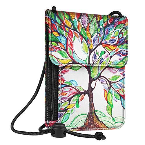 Fintie Passport Holder Neck Pouch [RFID Blocking] Premium PU Leather Travel Wallet, Love Tree