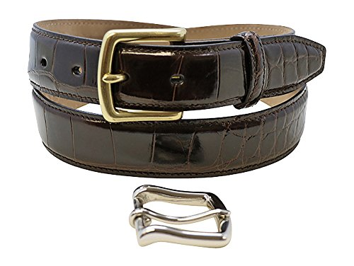 Size 38 Brown Genuine Alligator Belts for Men - American Factory Direct - Gold & Silver Buckle Included – Gift Box - 1 ¼ inch Wide - Made in USA by Real Leather Creations Body FBA709 - Glazed Alligator Belt