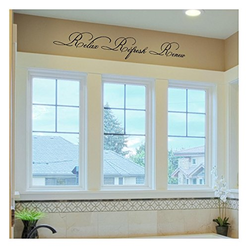 Relax Refresh Renew (M) Wall Saying Vinyl Lettering Home Decor Decal Stickers Quotes ()
