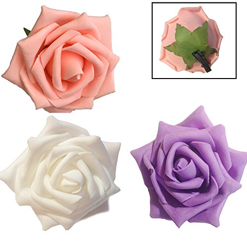 3 - Pack Rose Flowers with Green Leaves - Pink, Purple, White 3.5 inch Life-Like Foam Flower Hair Barrette
