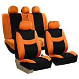 FH GROUP FH-FB030115-SEAT Light & Breezy Orange/Black Cloth Seat Cover Set Airbag & Split Ready- Fit Most Car, Truck, Suv, or Van