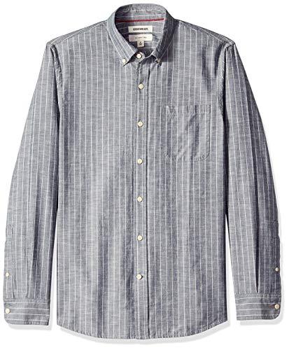 Goodthreads Men's Slim-Fit Long-Sleeve Pinstripe Chambray Shirt, -denim stripe, Large ()