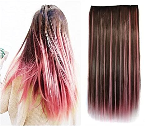 Dark Brown Mixed Pink Two Colors Ombre Hair Extensions Synthetic