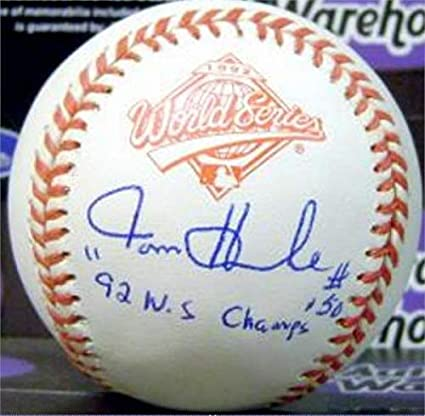 bd76a7874 Image Unavailable. Image not available for. Color  Tom Henke autographed  baseball 1992 World Series inscribed 92 WS Champs (Toronto Blue Jays)