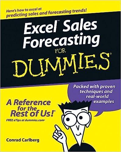 Excel Sales Forecasting For Dummies: Conrad Carlberg