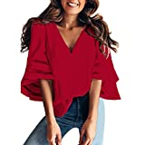 VANSOON Sweatshirt for Women O Neck Tops Short Sleeve Pullover Blouse T Shirt Tee Fashion Tunic Tops for Teen Girl Red