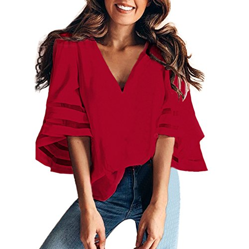 ♡QueenBB♡ Women's V Neck Mesh Panel Blouse 3/4 Bell Sleeve Loose Top Shirt Red from ♡QueenBB♡