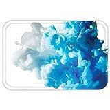 vac u flow - VROSELV Custom Door MatAbstract Home Decor Abstract Illustration CloudSmoke Mixed Liquid Flow Movement Trendy Art Print Decor Blue White