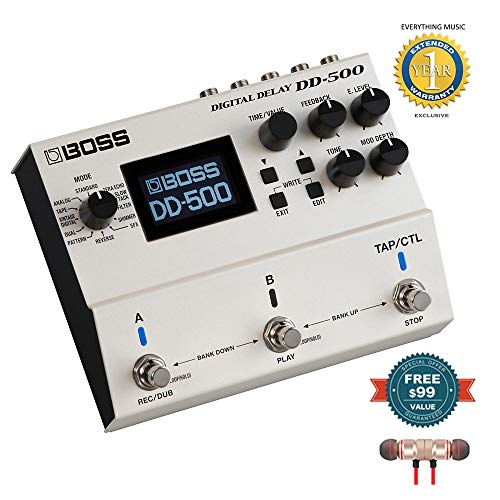 - Boss DD-500 Digital Delay Pedal includes Free Wireless Earbuds - Stereo Bluetooth In-ear and 1 Year Everything Music Extended Warranty