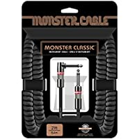 Monster Cable Classic 1/4 Angled to Straight Coiled Instrument Cable Black 21 ft.