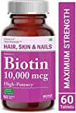 Carbamide Forte High Potency Biotin 10000mcg Maximum Strength for Hair Growth – 60 Veg Tablets