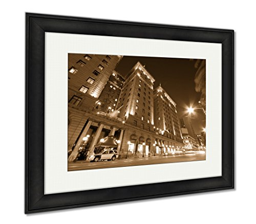 Ashley Framed Prints San Francisco Downtown, Modern Room Accent Piece, Sepia, 34x40 (frame size), Black Frame, - Union Shops Square Francisco San