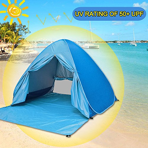 Pop Up Cabana : Augymer beach tent pop up sun shelter uv easy