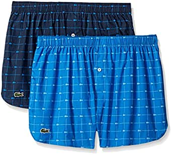 Lacoste Men's 2-Pack Authentic Woven Boxer, Navy/Sky Diver, Small
