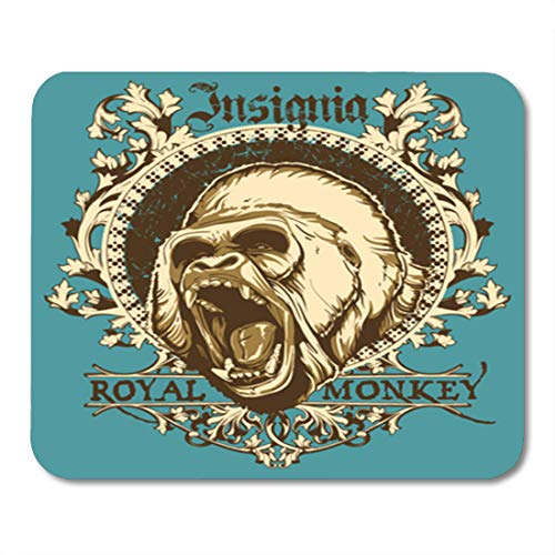 Semtomn Gaming Mouse Pad Gorilla Royal Monkey Angry King Animal Face Ape Scary 9.5