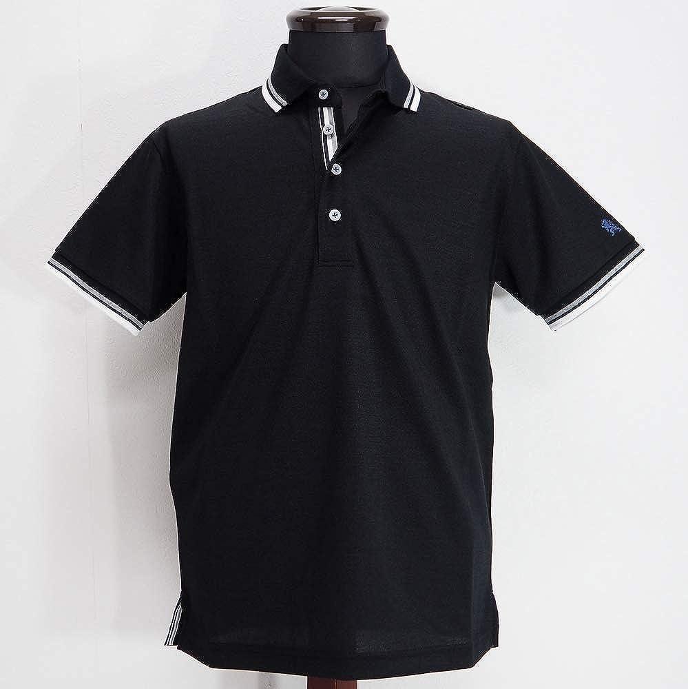 58168 LAURA FELICE MILANO ラウラフェリーチェ 日本製 ストレッチ 麻混 鹿の子ポロシャツ 半袖 ブラック 46(M) サイズ 日本製 メンズ カジュアル 男性 春夏 ゴルフ 通販   B07R6GRTLN
