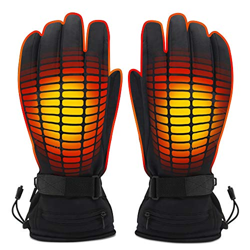 GLOBAL VASION Electric Heated Gloves 3 Level Heating Adjustable Cold Whether Gloves with Rechargeable Battery 3.7V Waterproof Touchscreen Lightweight Skiing Gloves for Men Women