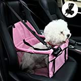 NO Collapse Dog Car Booster Seats Safety Seat Car Seat Cover with Dog Seat Belt Non Slip Carrier,Waterproof, Breathable, Portable, Foldable for Small Pets Animals Cat Puppy Pink