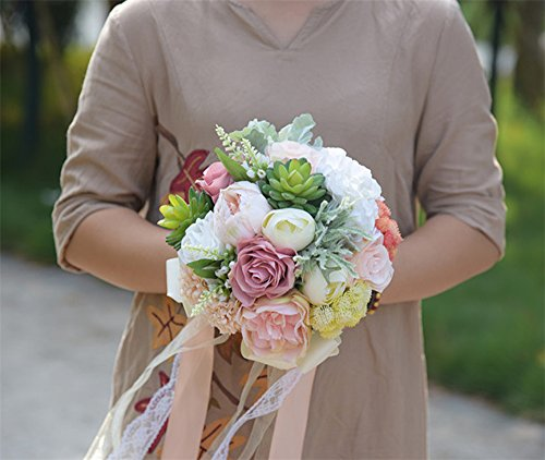 KUKI SHOP Handmade Creative Flowers and Succulent Plants Wedding Bouquet Bridal Holding Bouquet Bridal Throw Bouquet Bridesmaid Bouquet Wedding Decora…