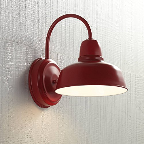 Urban Barn Rustic Farmhouse Outdoor Wall Light Fixture Red Steel Gooseneck Arm 11 1/4