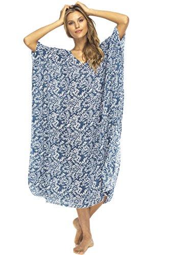 Back From Bali Womens Loose Maxi Beach Dress Cover up Long Poncho Bun Navy ()